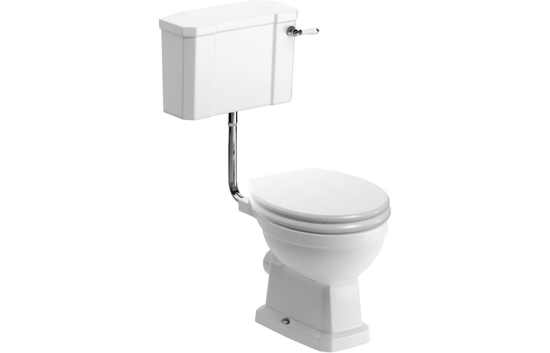 Sherbourne Low Level WC & Lucia Satin White Wood Effect Seat