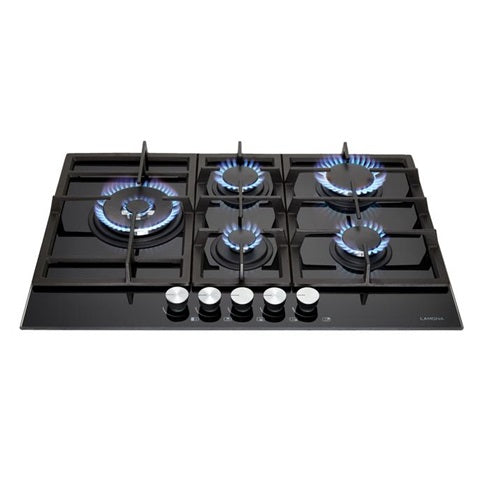 LAM1550 A Lamona Black 5 Burner Gas on Glass Hob 75cm