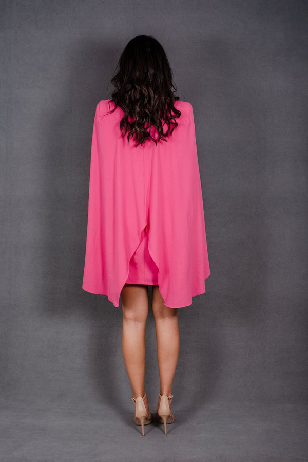 Neon Pink loose fitting dress with Cape | Cameo