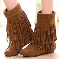 Suede Fringe Flat Boots