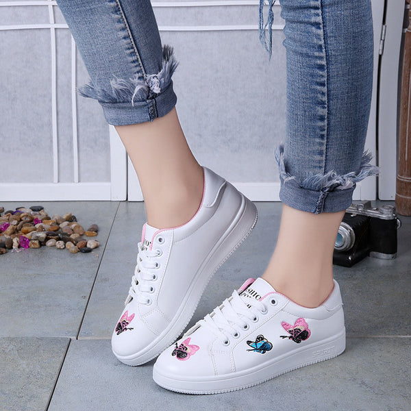 Concise Embroidery Lace up Flats