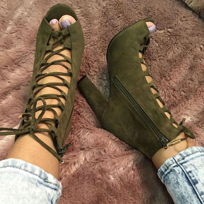 Army Green Lace Up Chunky Sandals