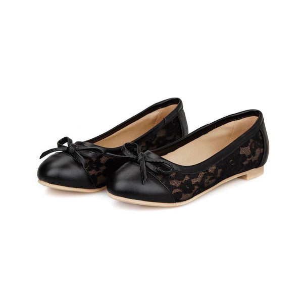Lace Patchwork Flats with Bowtie