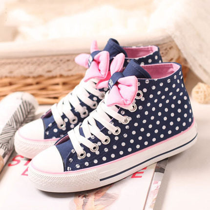 Sweet Dots Lace-up Flat with Bowknot