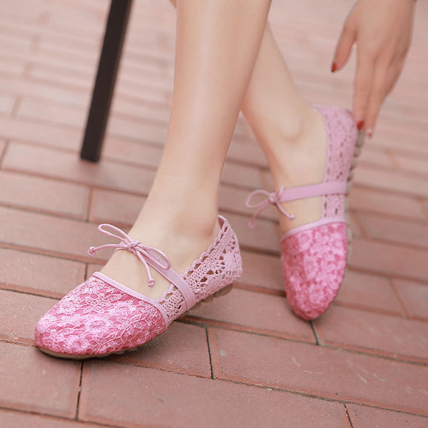 Spring Mesh Lace Flat with Bowtie