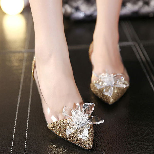 Transparent Sequins Pointed-toe Flats