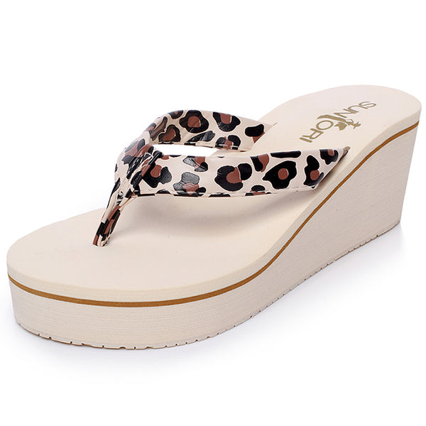 Wedge Heel Slip-On Platform Leopard Thong Women's Sandals