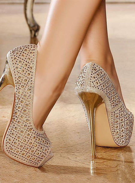 Delicate Champaign Golden Stiletto Heel Queen Closed Toe  Spring  Shoes