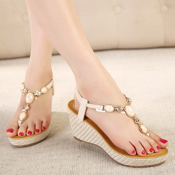 Wedges Thong Rhinestone Women's Sandals (Plus Size Available)
