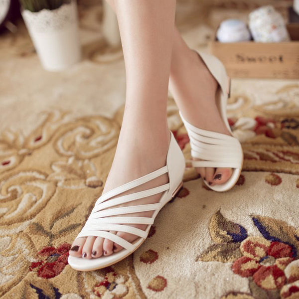 Simple Open Toe Flat Sandals