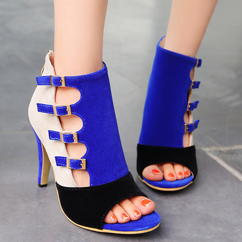Stiletto Heel Color Block Zipper Peep Toe Women's Sandals