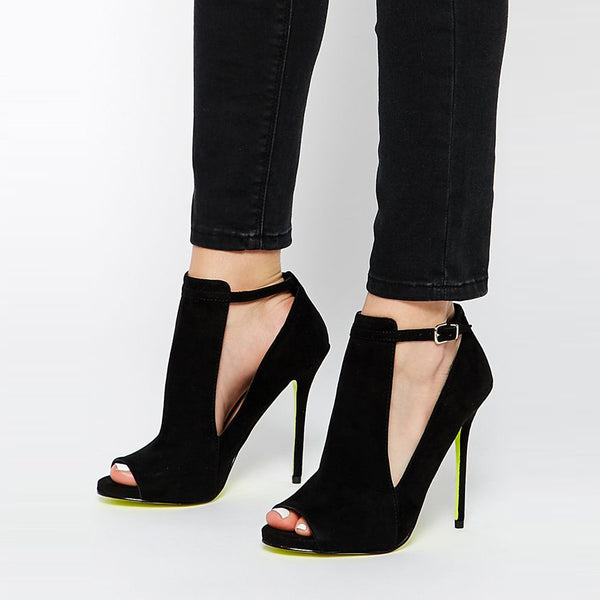 Peep Toe Stiletto Heel Hollow T-Shaped Buckle Women's Pumps