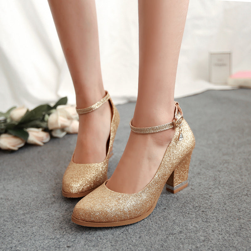 Ankle Strap Round Toe Plain Chunky Heel Women's Pumps