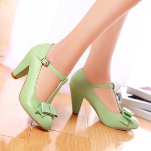 Bowtie T-Shaped Buckle Plain Chunky Heel Women's Pumps