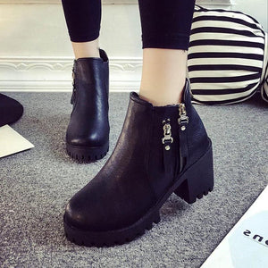 Solid Color Round Toe Side Zipper PU Women's Boots