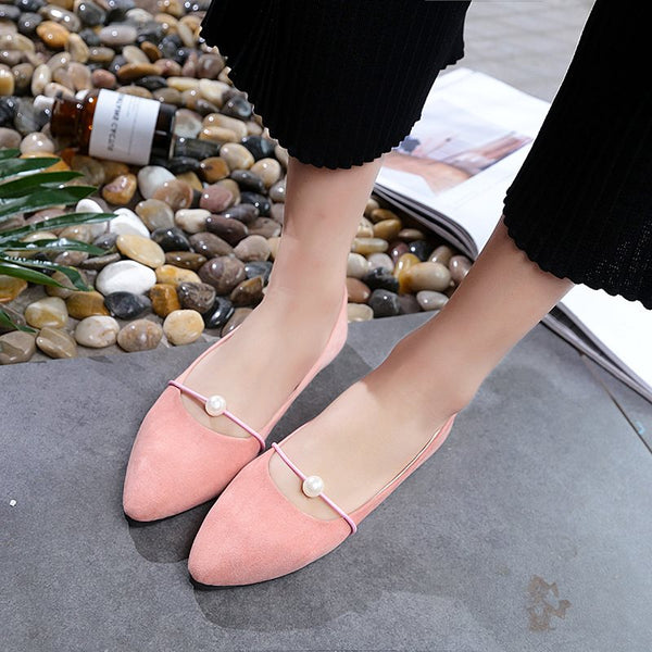 Slip-On Pointed Toe Beads Block Heel 1.5cm Low-Cut Upper Thin Shoes
