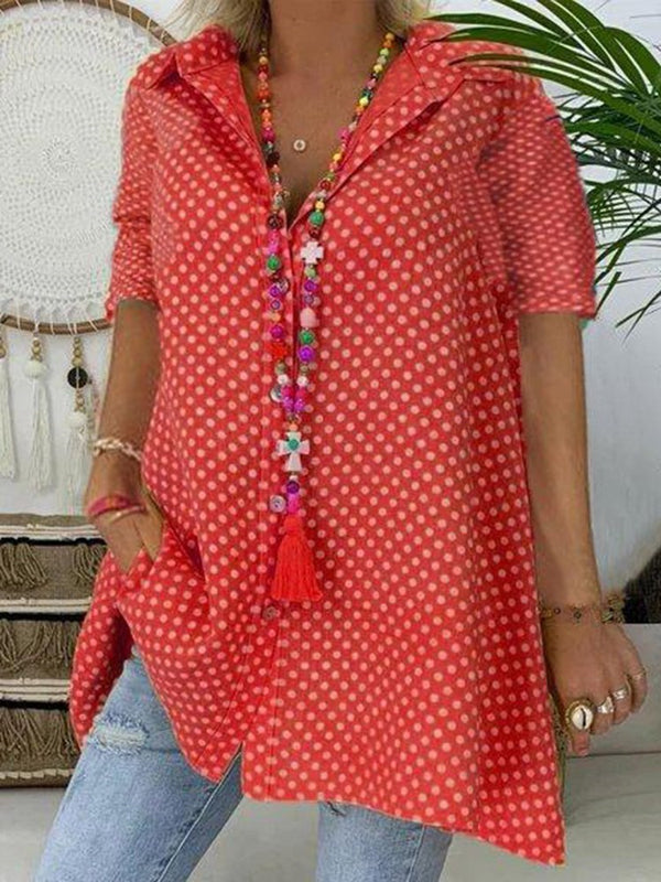 Polka Dots Lapel Print Short Sleeve Mid-Length Blouse