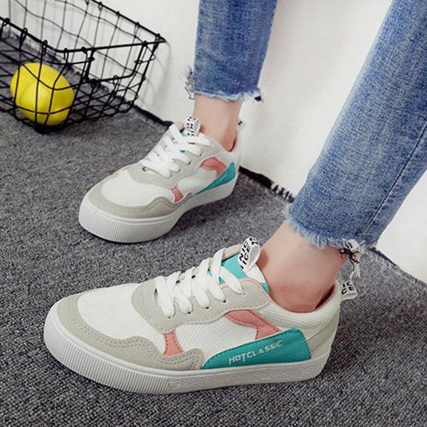 Patchwork Lace Up Casual Sneakers