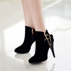 Faux Suede Buckle Chain Stiletto Women's Ankle Boots