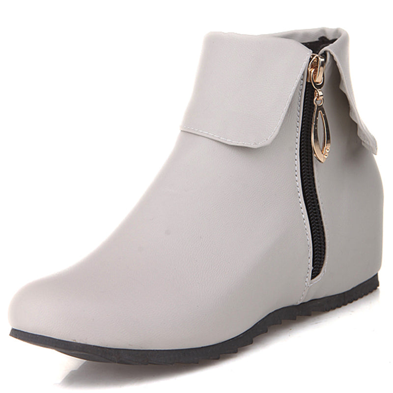 Chic Elevator Heel Side Zip Ankle Boots