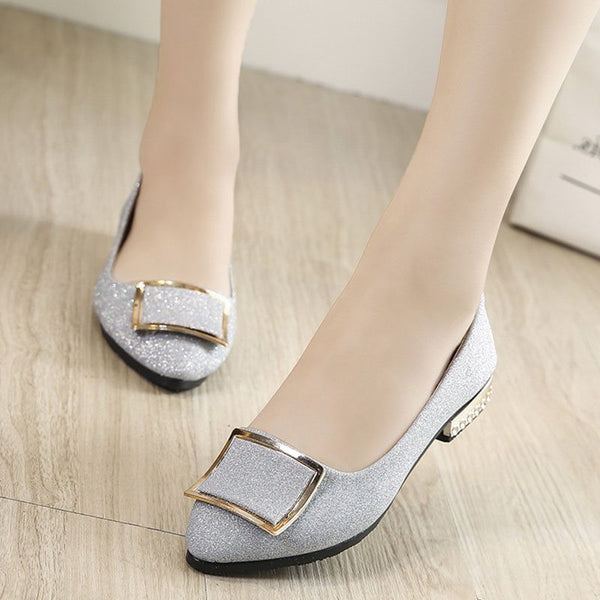 Pointed Toe Block Heel Sequin Slip-On Low-Cut Upper Casual Thin Shoes
