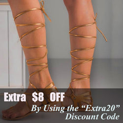 LURE PU Knee High Flat Caged Gladiator Sandals