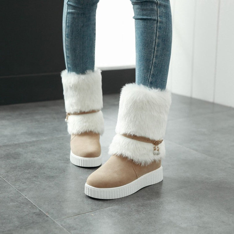 Fuzzy Slip-On Patchwork Women's Snow Boots