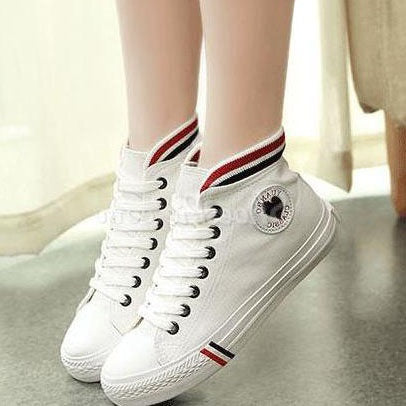 Round Toe Lace-Up Canvas Sneakers