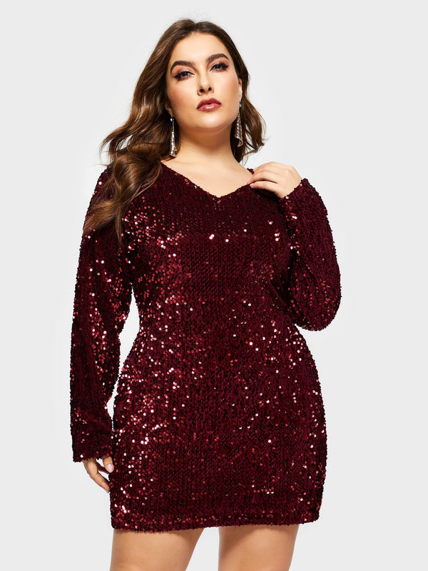 Sexy V-Neck Sequin Party Dress
