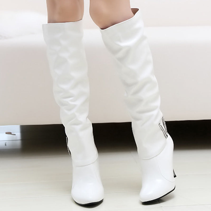 Patent Leather Point Toe Knee High Boots