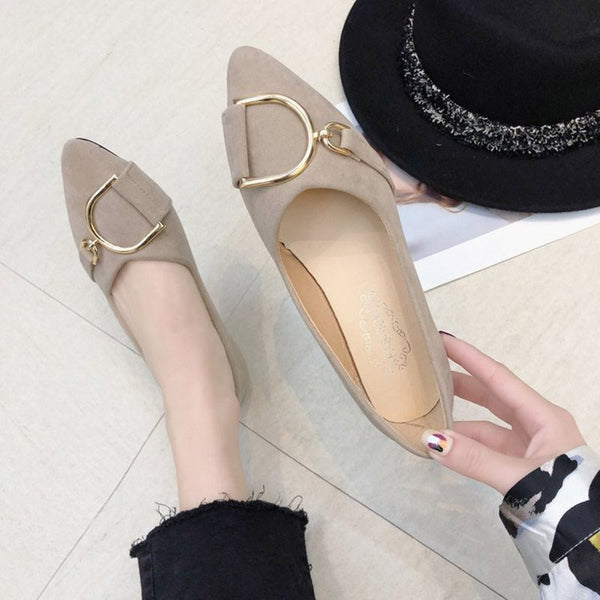 Block Heel Pointed Toe Slip-On Plain 1cm Thin Shoes