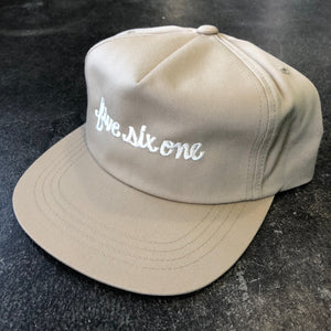 561 Hat Unstructured Snapback Fish Script Khaki/White