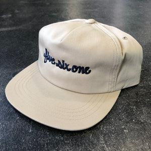 561 Hat Unstructured Snapback Fish Script Khaki/Navy