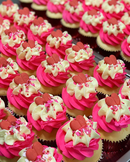 Hot Pink Love Cupcakes