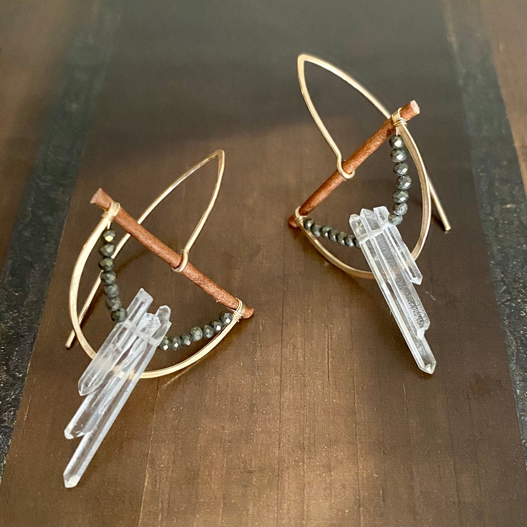 Pyrite + Triple Quartz Half Moon Earrings
