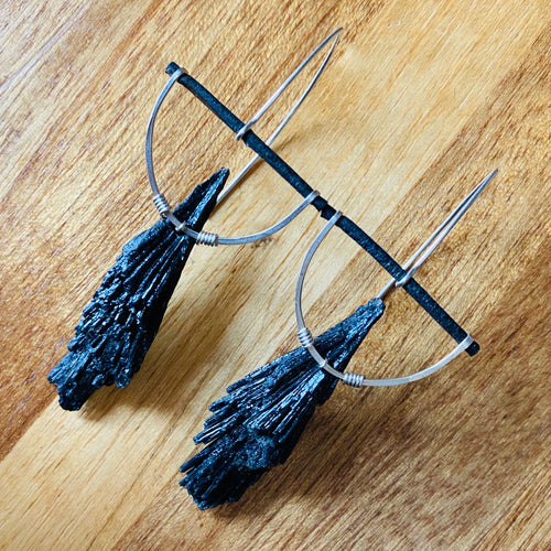 Black Kyanite Half Moon Earrings