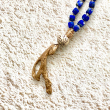 Load image into Gallery viewer, Lapis + Bronze Driftwood Mala Necklace
