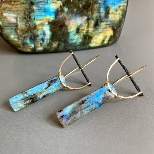 Labradorite Half Moon Earrings