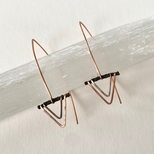 Rose Gold + Sterling Arrow Earrings