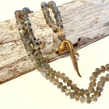 Load image into Gallery viewer, Faceted Labradorite + Bronze Driftwood Mala