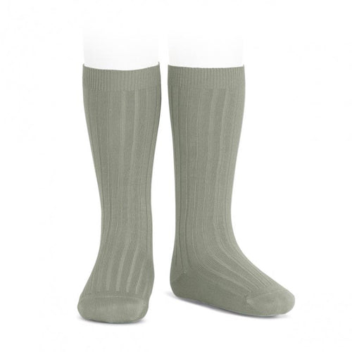 Condor Wide Ribbed Cotton Knee-high Socks - Green Lake (760)