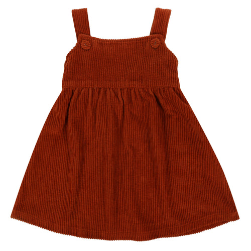 Little Cotton Clothes Tabitha Pinafore Dress - Rust Chunky Cord 3-4Y,4-5Y