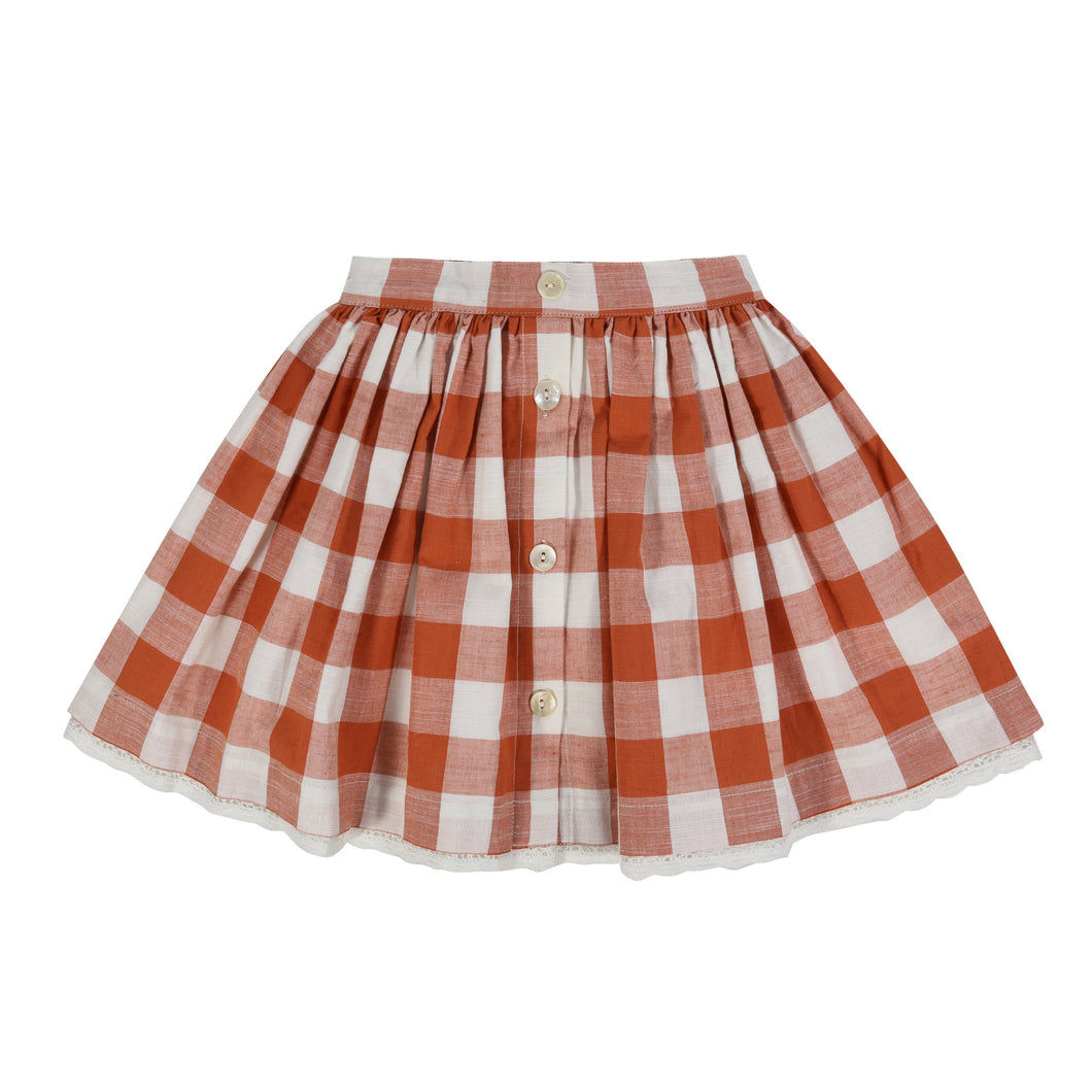 Little Cotton Clothes Salcombe Skirt - Rust Gingham 3-4Y