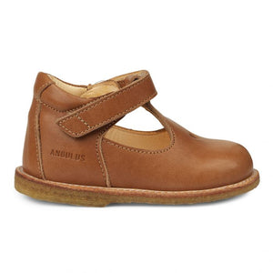 Angulus Mary Janes with Heart and Velcro - Tan