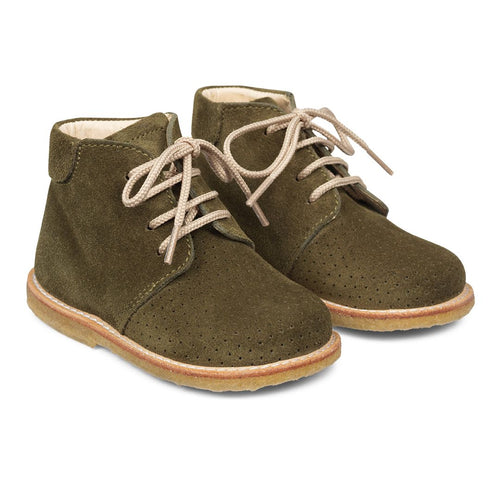 Angulus Boot with Laces and Hole Patterns - Olive
