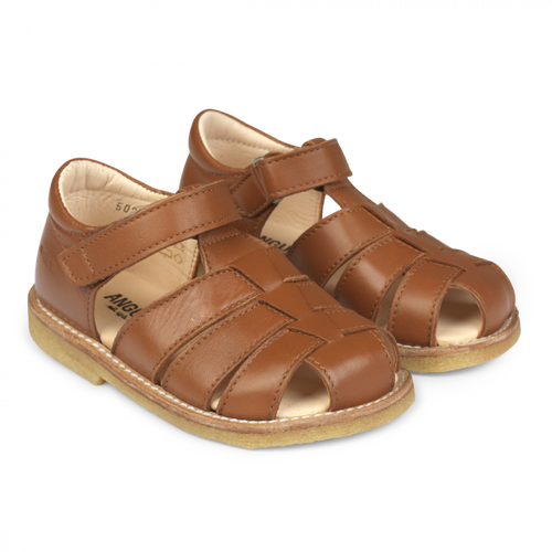 Angulus Sandal with Adjustable Velcro - Cognac