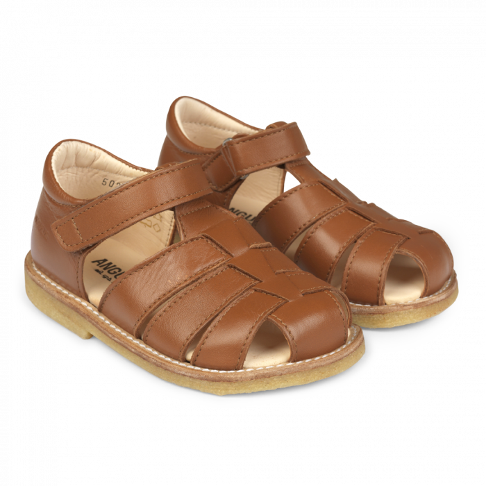 Angulus Sandal with Adjustable Velcro - Cognac Size 20, 21, 23