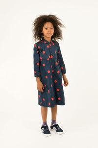 TINY COTTONS APPLES LONG DRESS True Navy/Burgundy 2Y,6Y