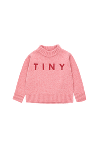 TINY COTTONS TINY MOCK SWEATER - Pale Pink/Burgundy 2Y,6Y