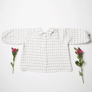 Nellie Quats Duck, Duck, Goose Blouse - Linen White Check 5-6Y Last One